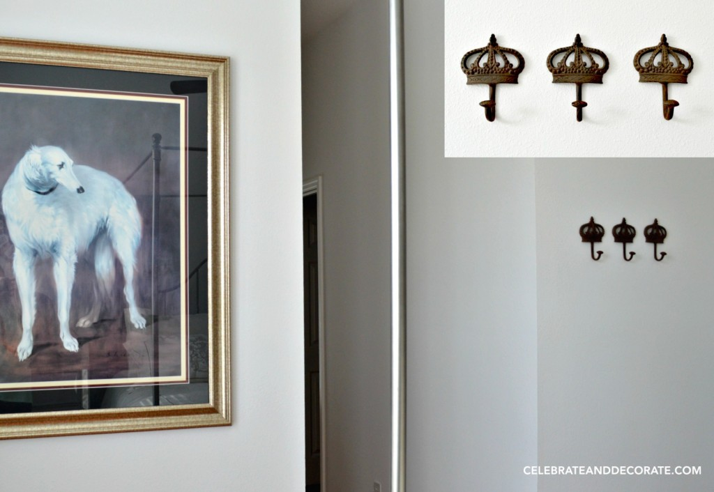 Regal Hooks and an elegant dog dress up a guest room.