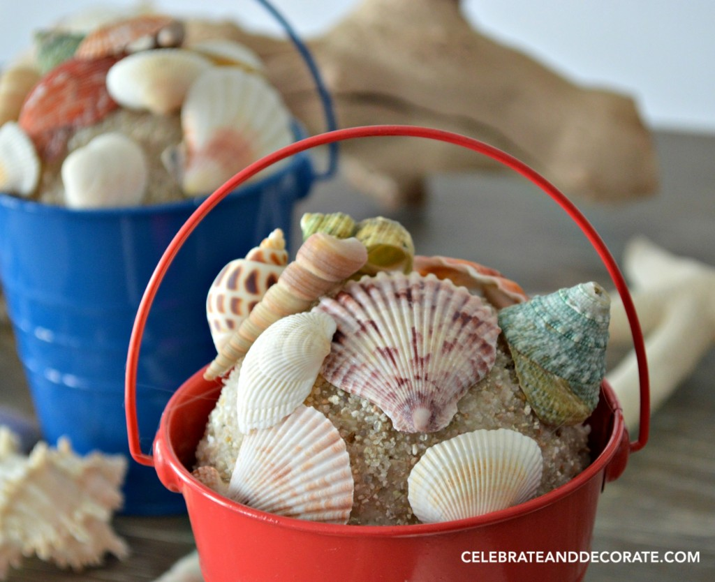 Seashell Pail bookends for a Coastal home