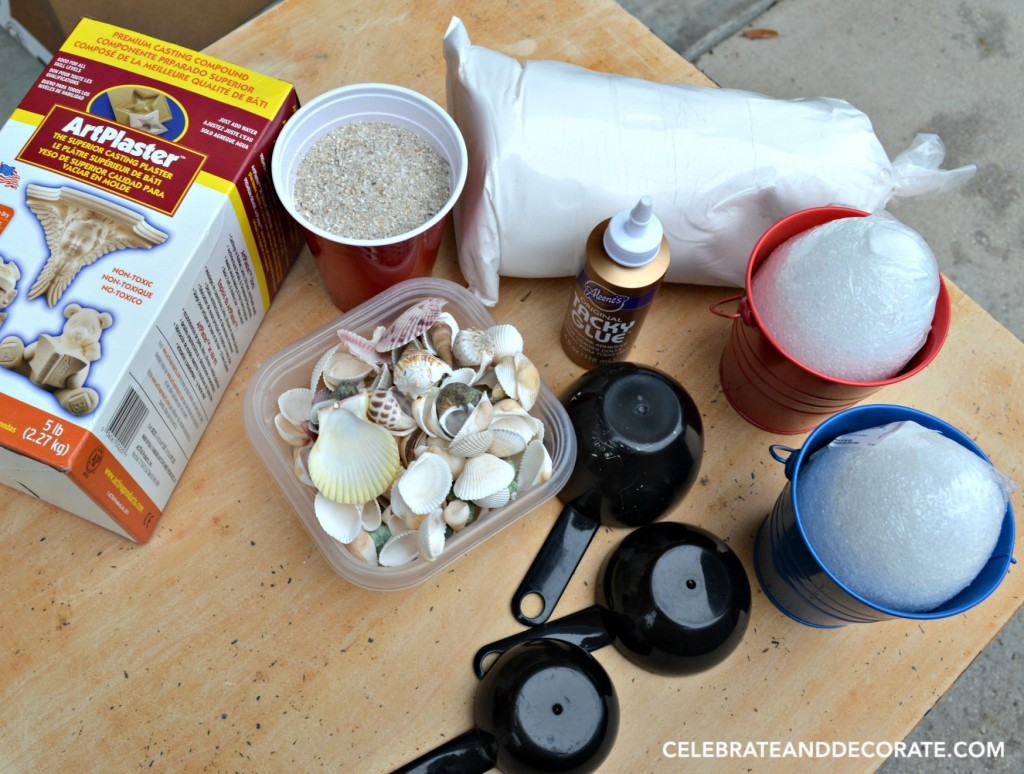 Supplies for making sand pail bookends