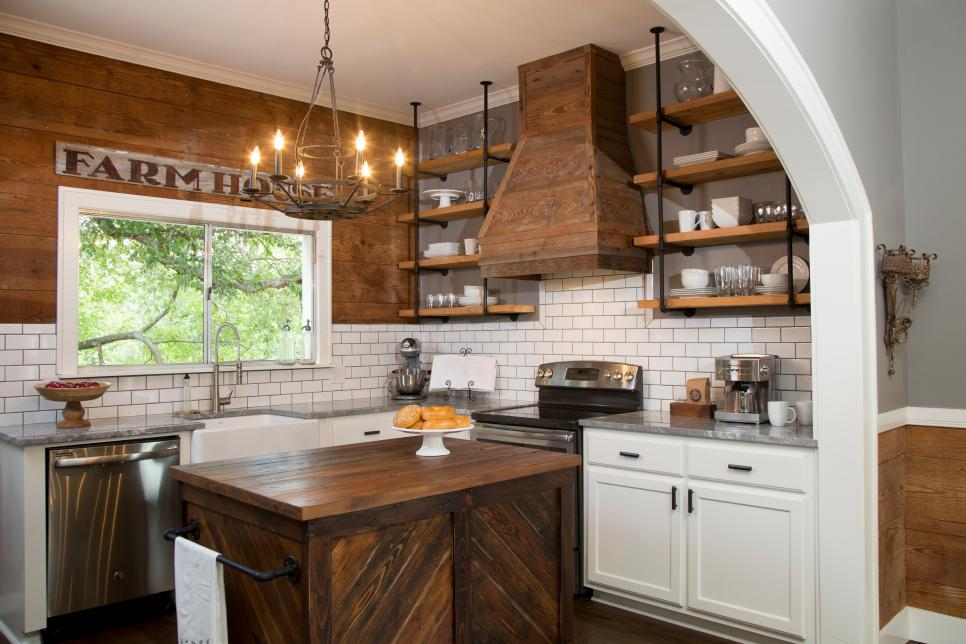 Farmhouse Kitchen with dark shiplap on the wall