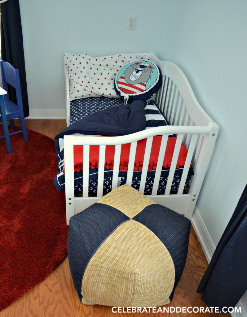 IndoorOutdoor poufs for extra seating in a nautical Nursery
