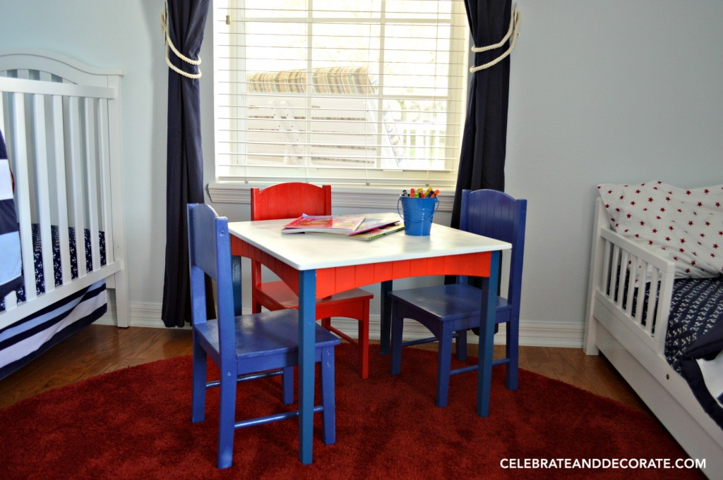 Red White and Blue Activity table for coloring in a Nautical Nursery
