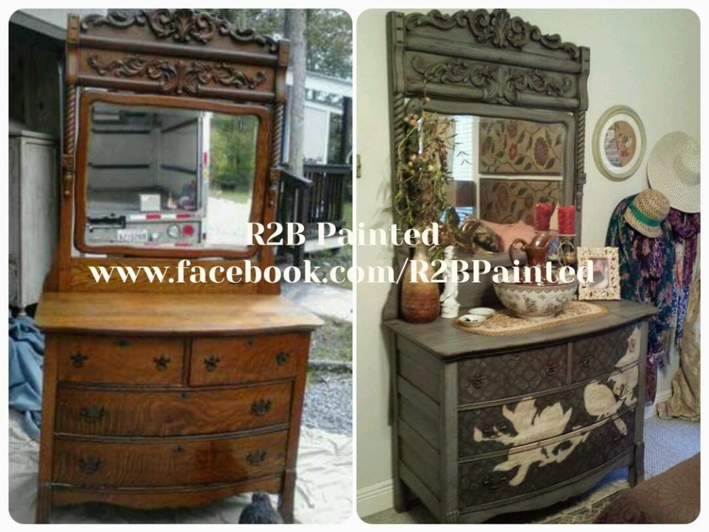 Painted Antique dresser with bird motif