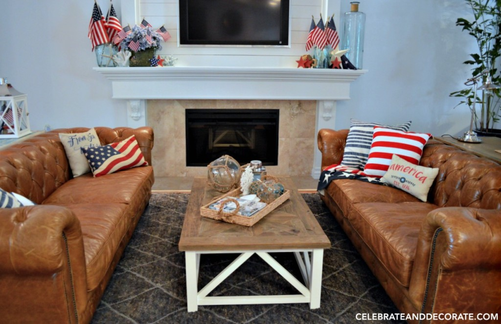 Family room decorated for the Fourth of July