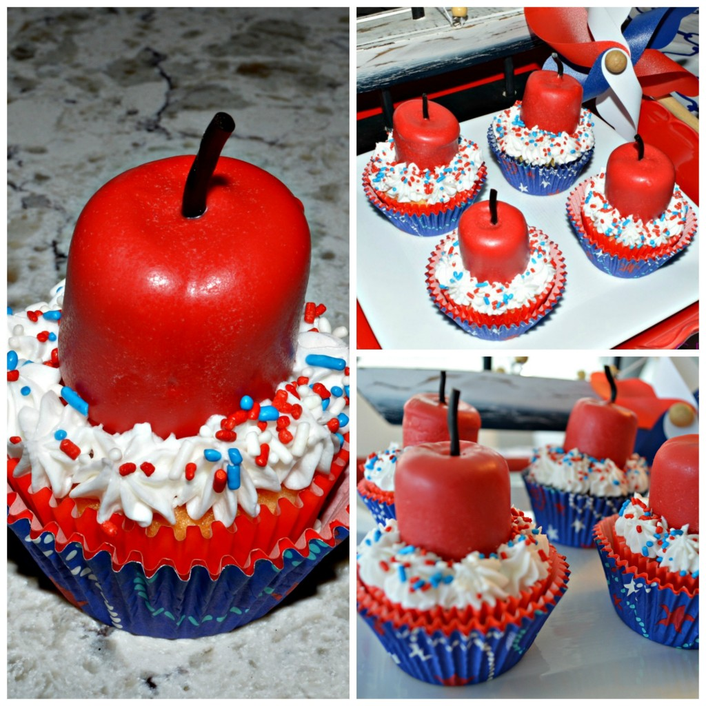 Firecracker cupcakes collage