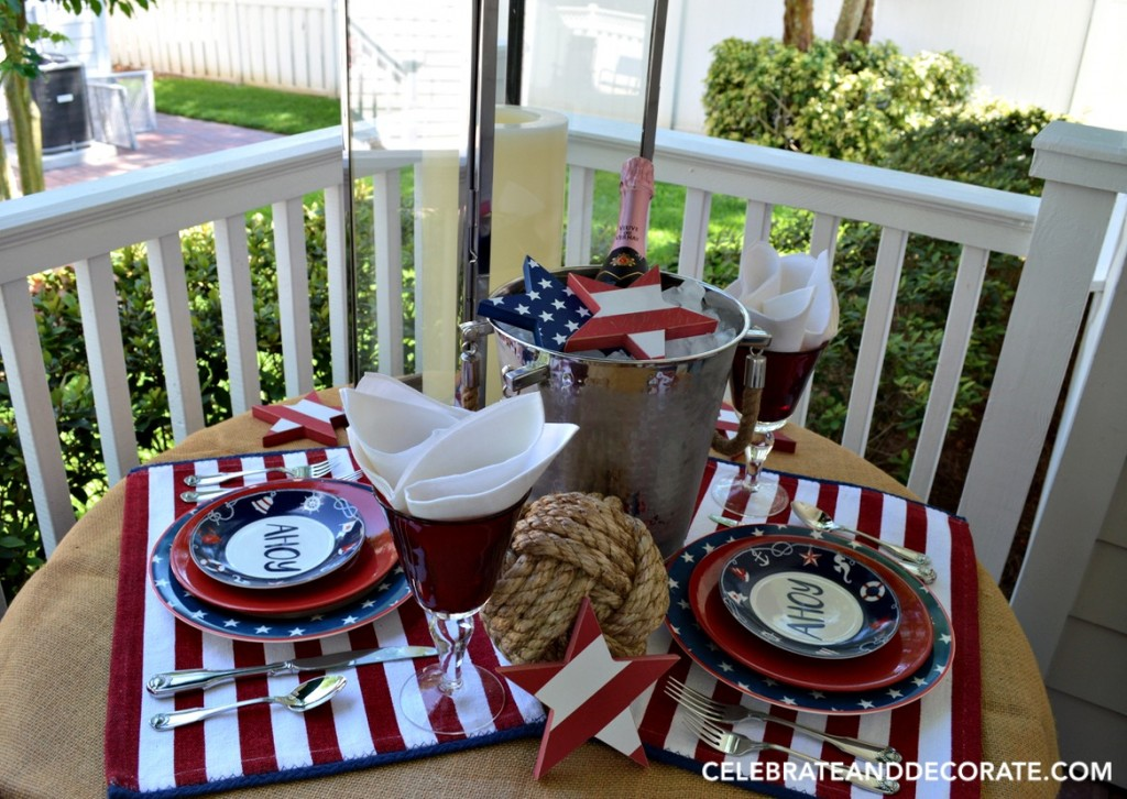 Gather on the back porch for dinner for two with a nautical touch