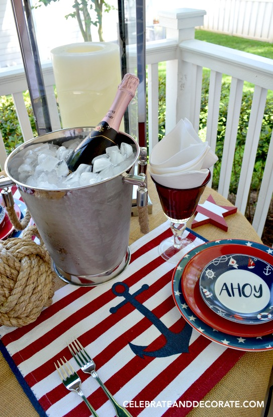 Nautical Tablescape on the back porch