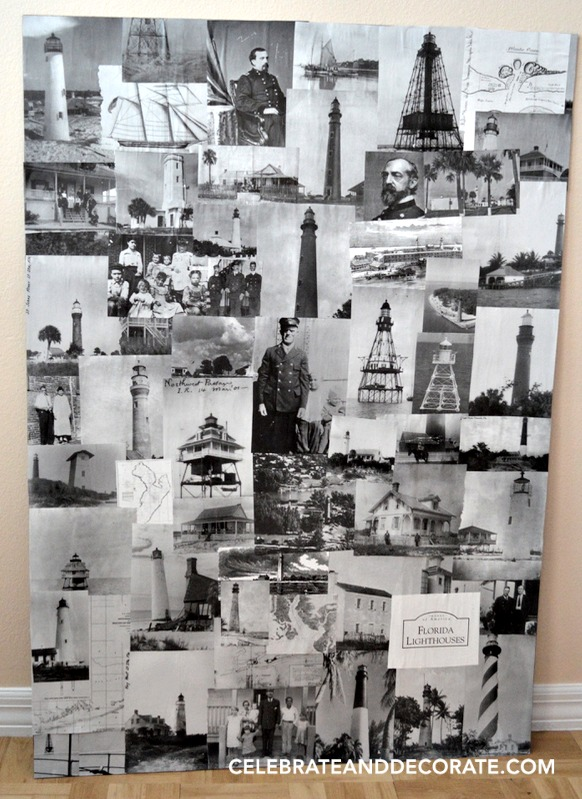 LIGHTHOUSE PHOTO COLLAGE BOOKSHELF