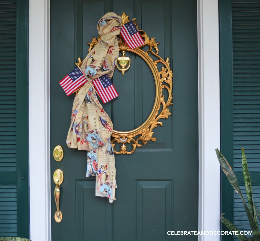 Vintage inspired Fourth of July door decor