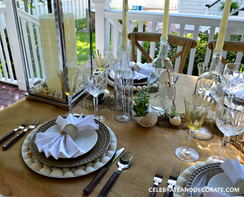 A beach-inspired summer tablescape