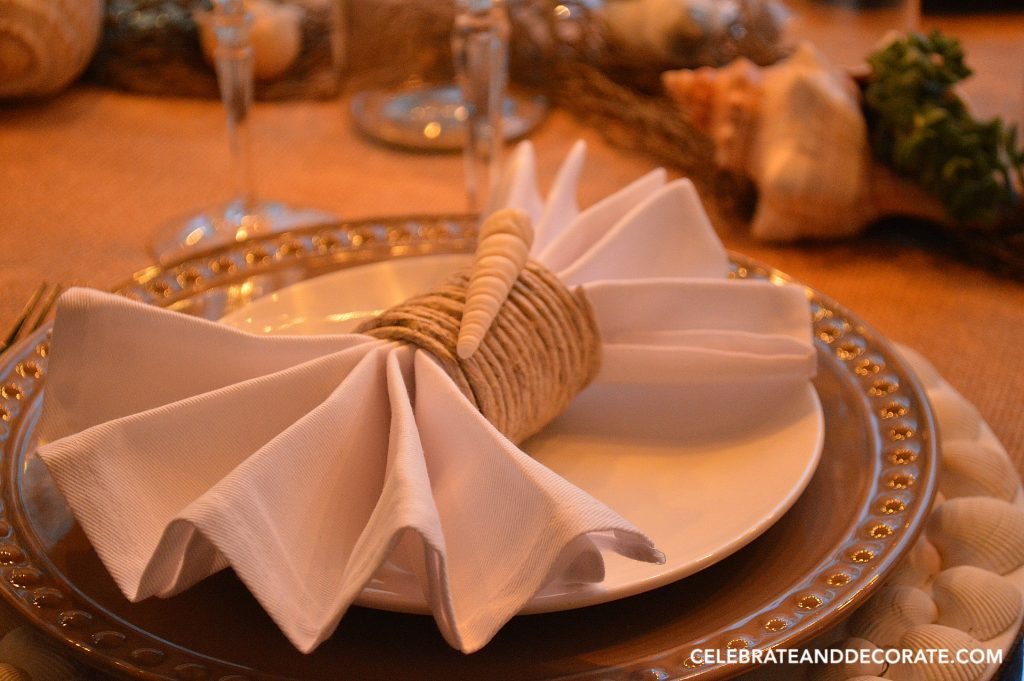 A beach inspired tablescape.