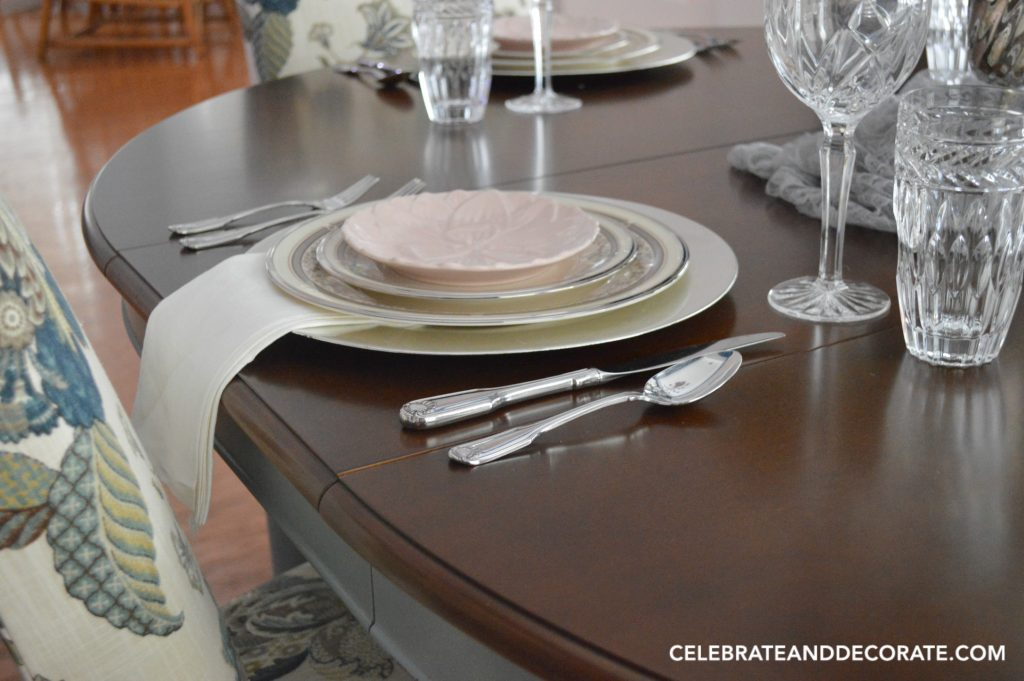 An elegant Tablescape with china and crystal