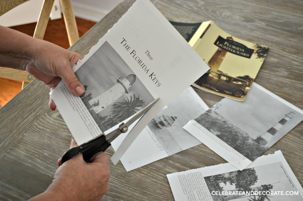 Cutting up a book for a lighthouse collage