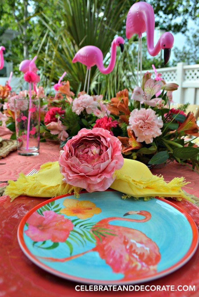 Fun Flamingo tablescape in bright colors.