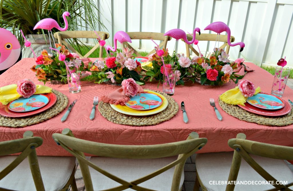Fun summertime flamingo themed tablescape