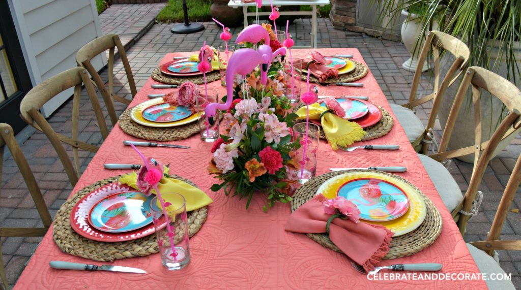 Pink and Coral Flamingo Tablescape
