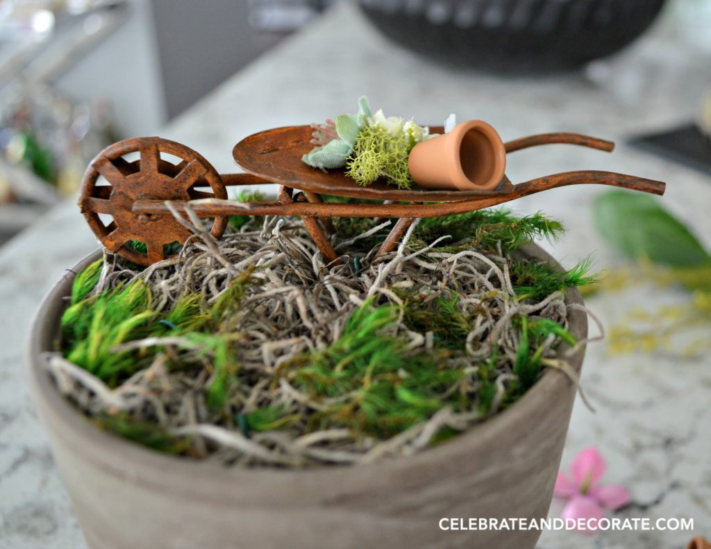 Tiny Wheelbarrow in a fairy garden