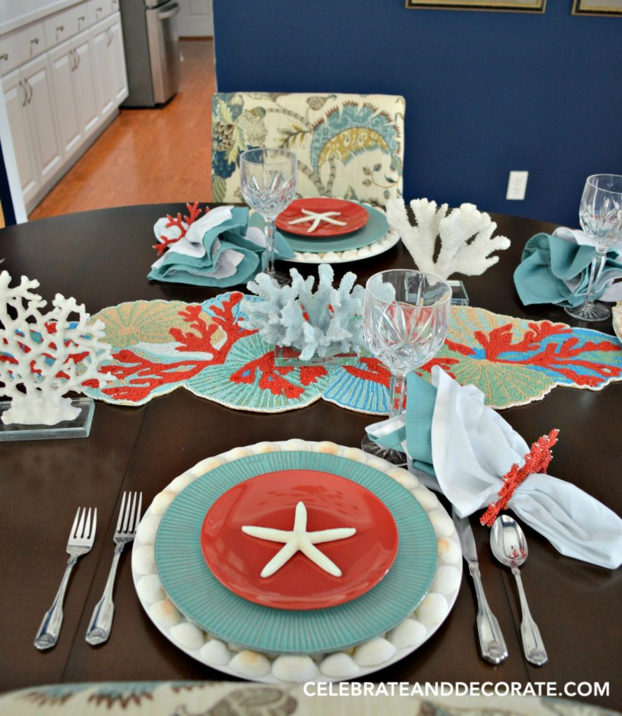 A Coral and Turquoise Tablescape