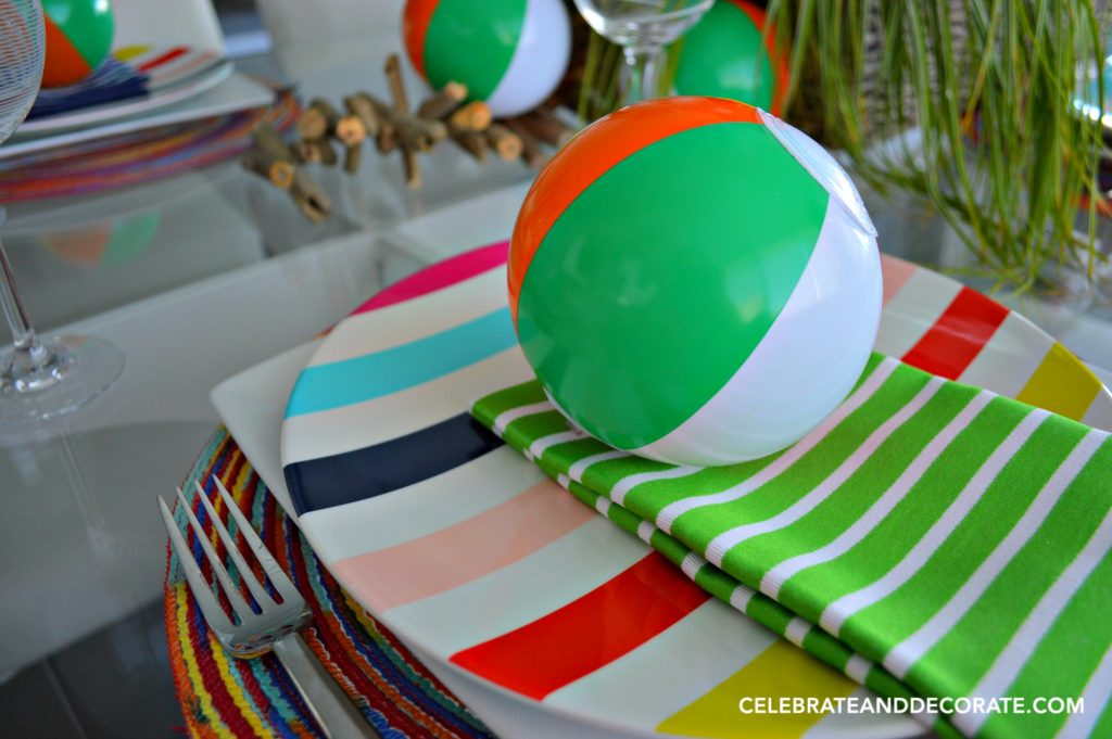 A beach ball place setting for summer fun.