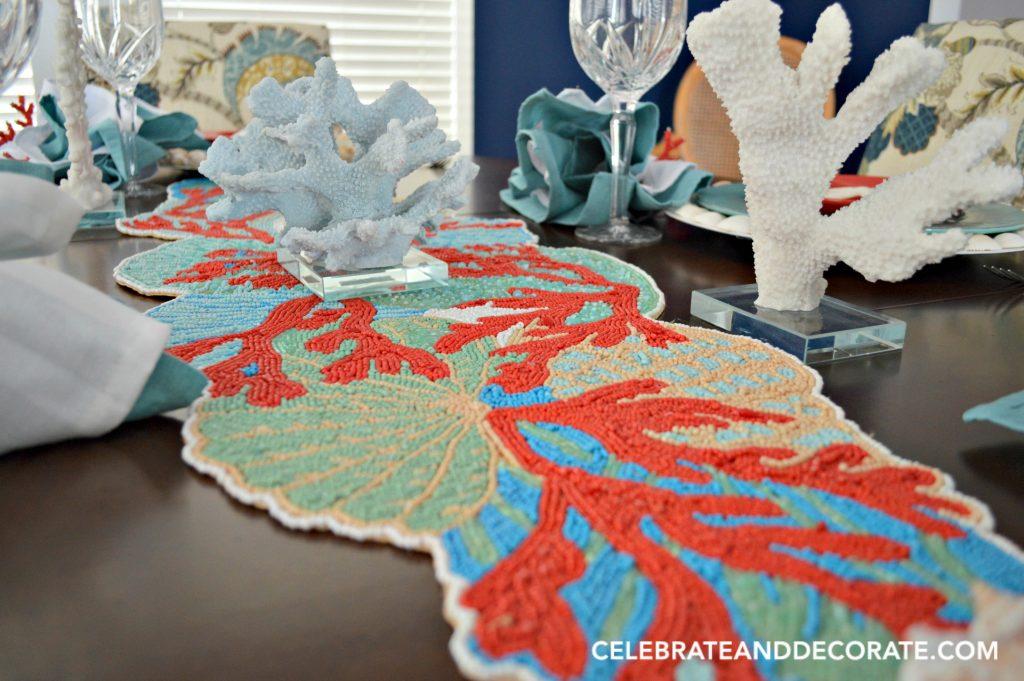 A celebration of coral tablescape