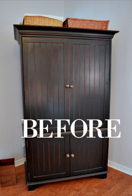 BEFORE PICTURE OF A BLACK ARMOIRE