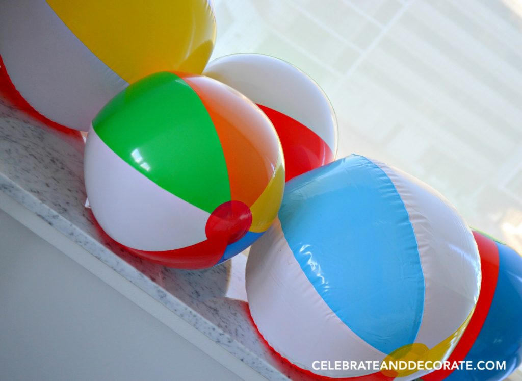 Beach balls make for inexpensive party decor