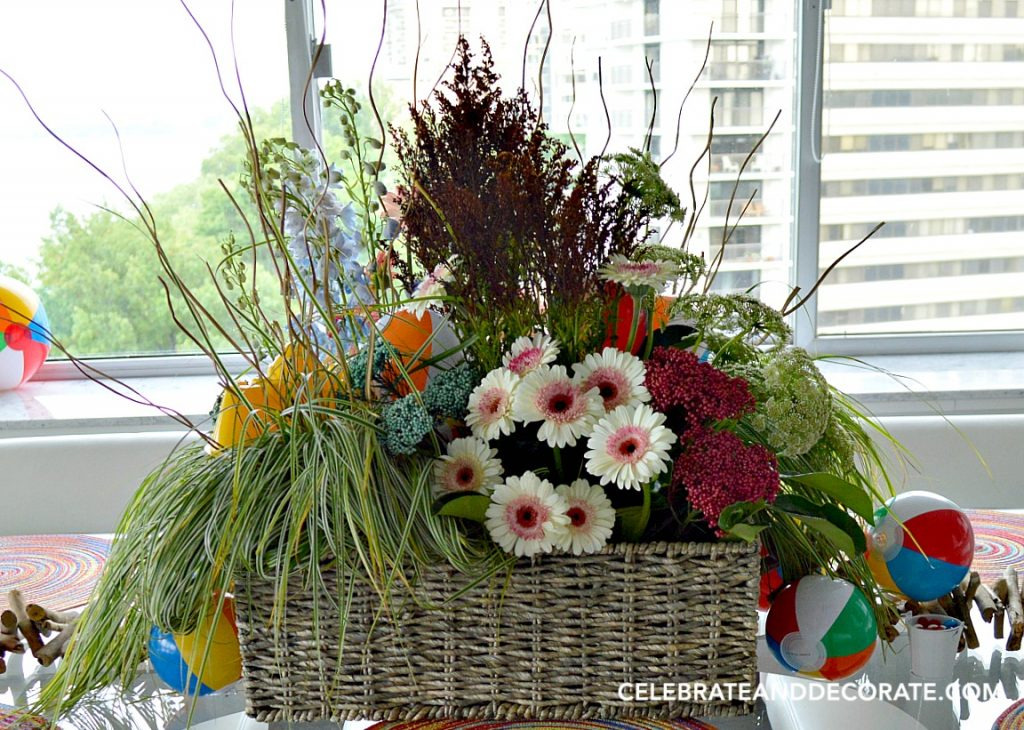 Beachy Floral centerpiece for a beach ball party