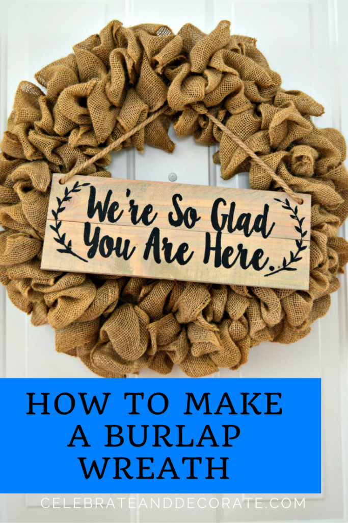 Step by step tutorial how to make a burlap wreath