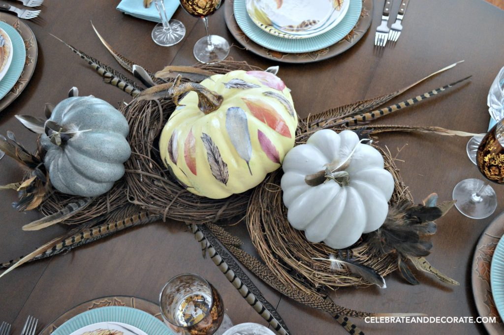 Fall Feather Centerpiece with colorful pumpkins