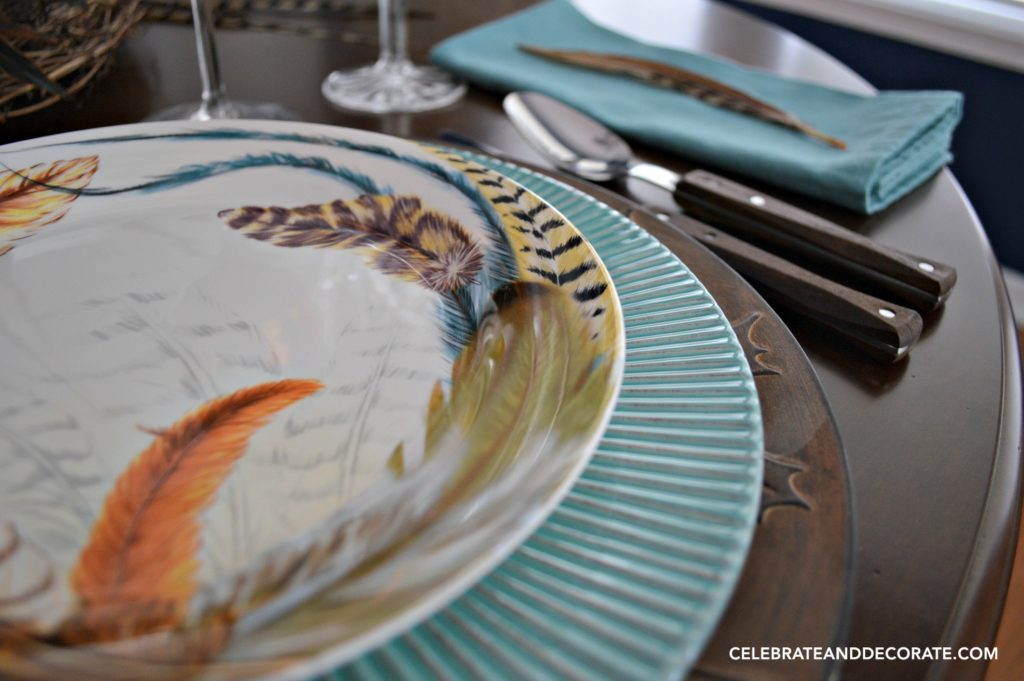 Fall Feather Tablescape perfect for Thanksgiving