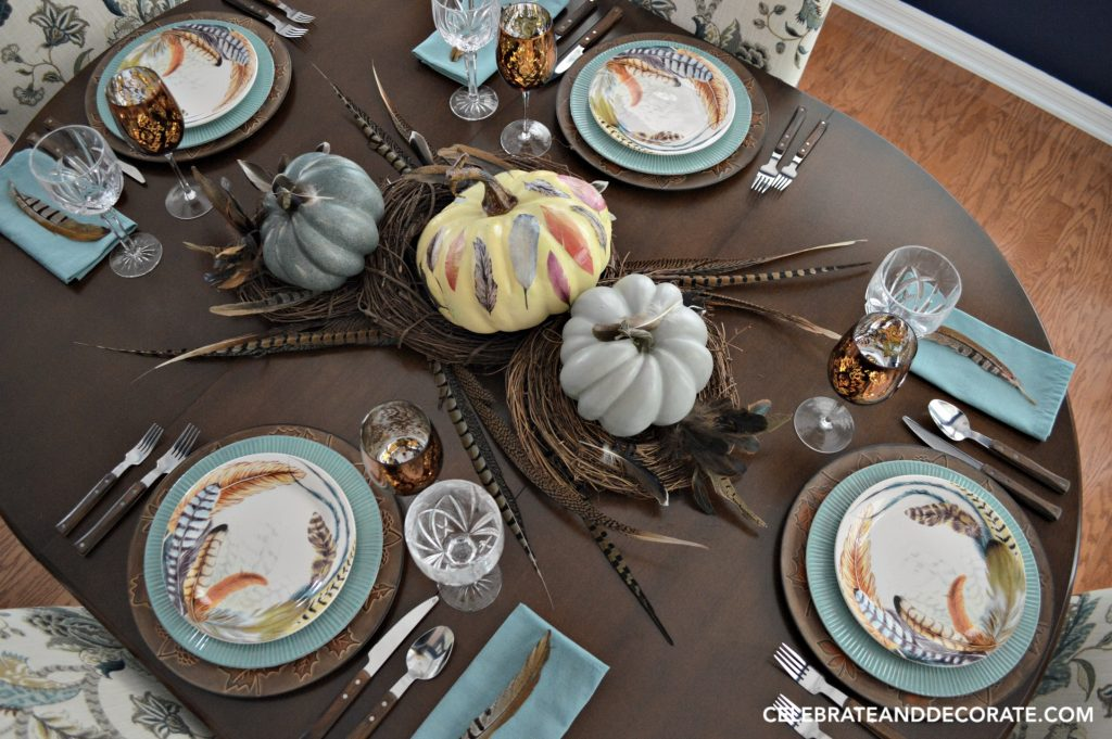 Fall Feather themed tablescape