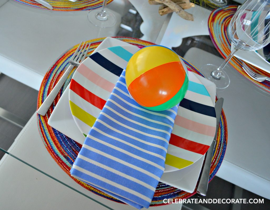 Kate Spade Striped Plates for a beach ball tablescape