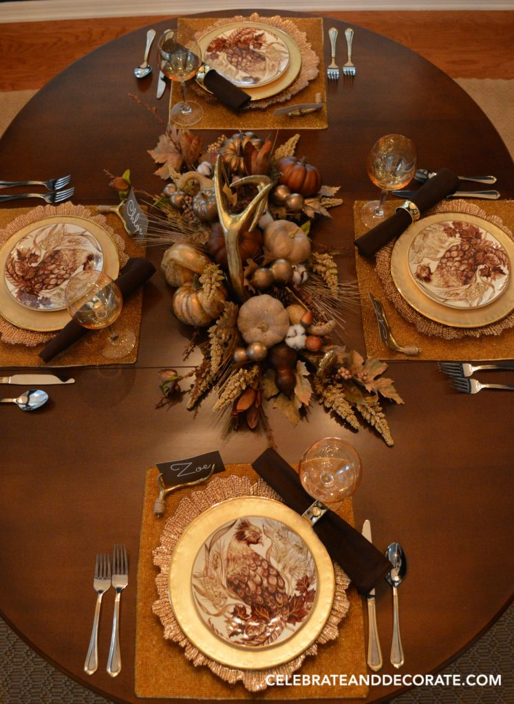 A golden Autumn tablescape inspired by pottery barn salad plates