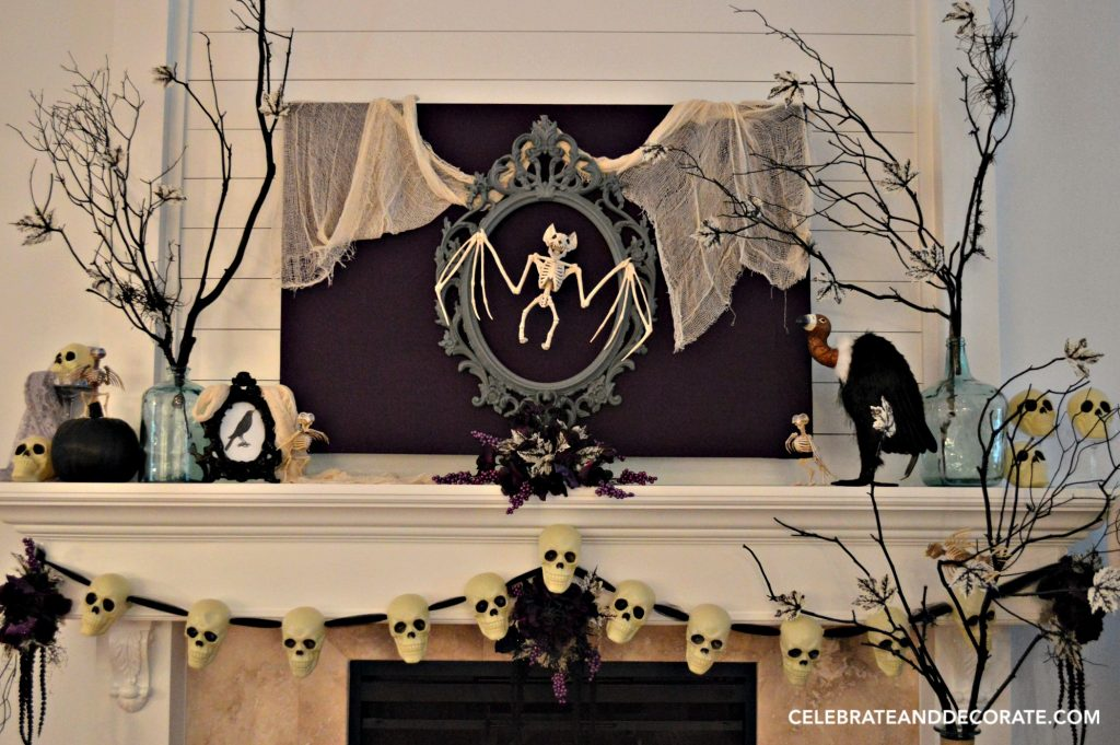 skeleton halloween mantel decor - Halloween Mantle