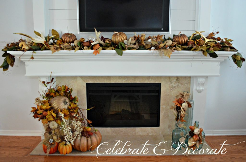 Celebrating Fall and Thanksgiving with a mantel and hearth that are decorated for Fall.