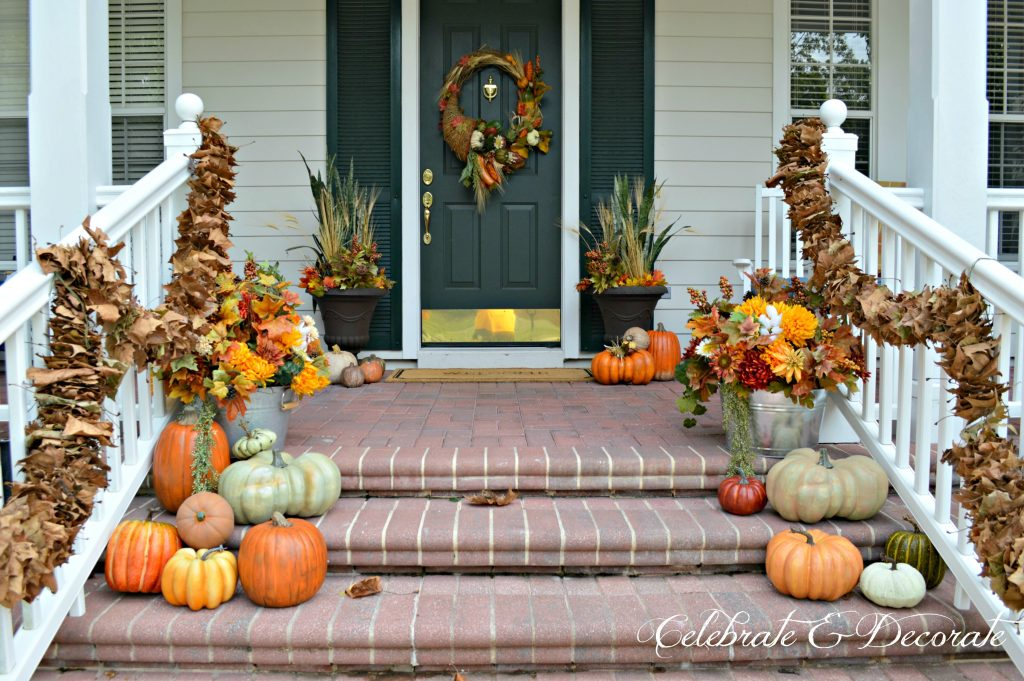 A Fall Front Porch with natural leaf garlands
