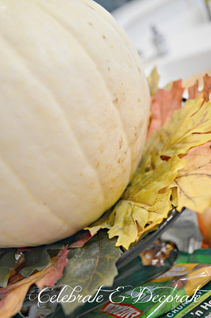 A white pumpkin is nestled on Fall leaves to add a punch of Autumn color to the kitchen.