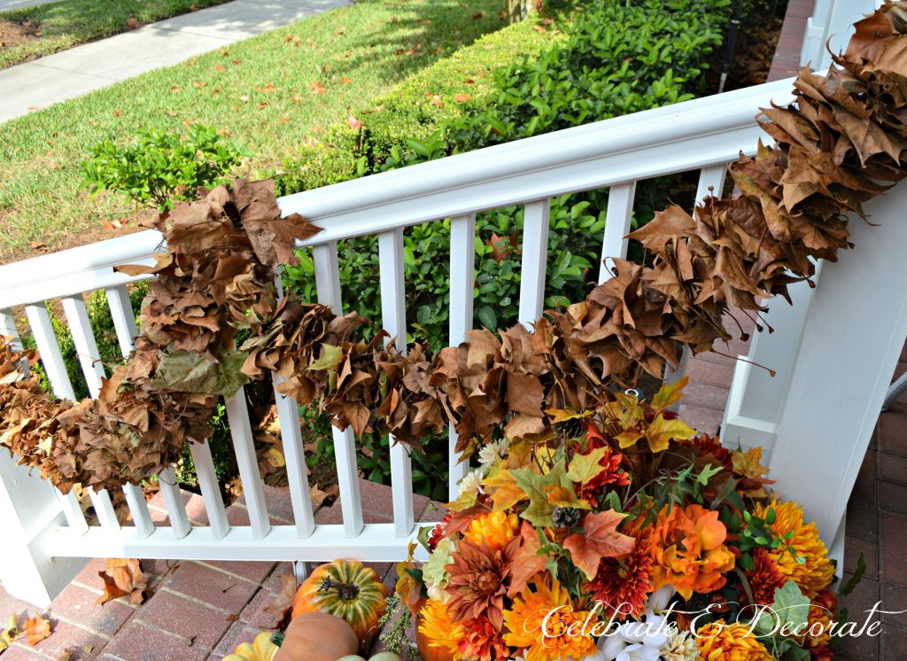 Make a Fall garland out of fallen fall leaves by stringing them on a string or yarn