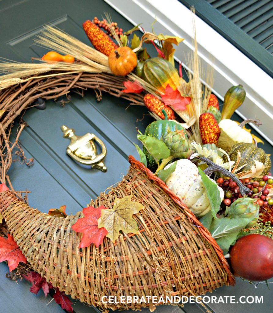 Horn of plenty wreath DIY to add some Fall to your entryway