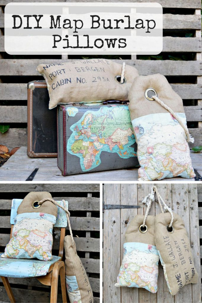 DIY Map Burlap Pillows