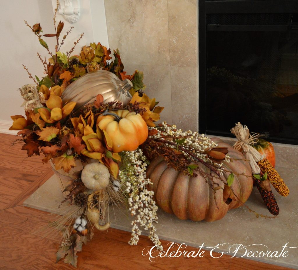Don't forget the hearth when decorating your mantel for Fall.