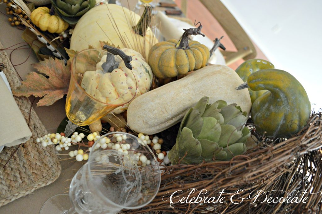 Harvest themed Thanksgiving Tablescape