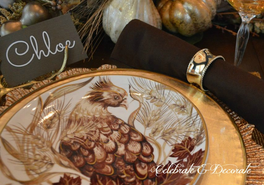 A Fall tablescape in gold and brown inspired by these Pottery Barn salad plates.