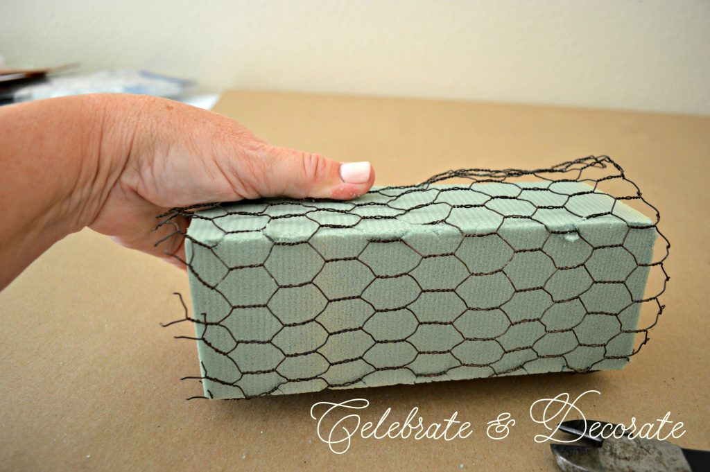 Covering floral foam with chicken wire keeps it from breaking apart as you arrange in it.
