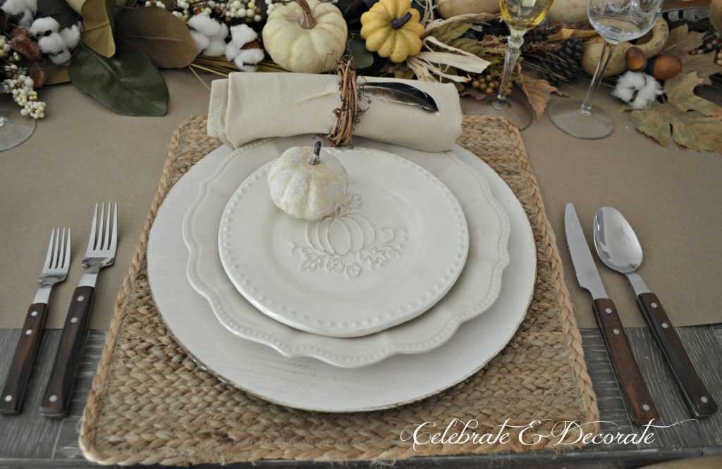 A bountiful Harvest neutral Tablescape for Thanksgiving
