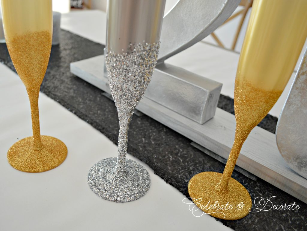 Glitter champagne glasses for a sparkly New Year's Eve
