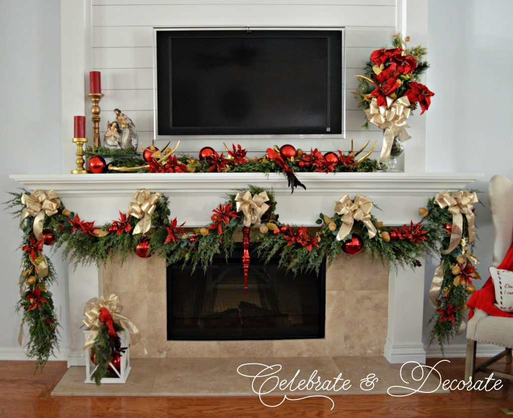 Holiday Home Tour mantel decked in red and gold