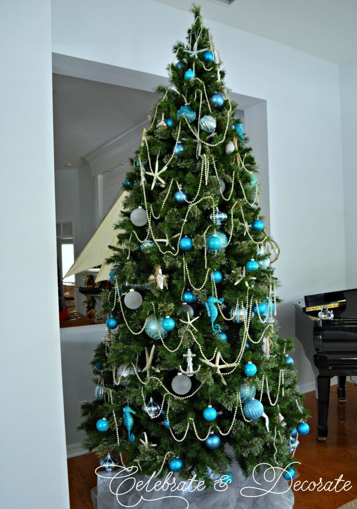 A Coastal Christmas tree in blue and white and silver