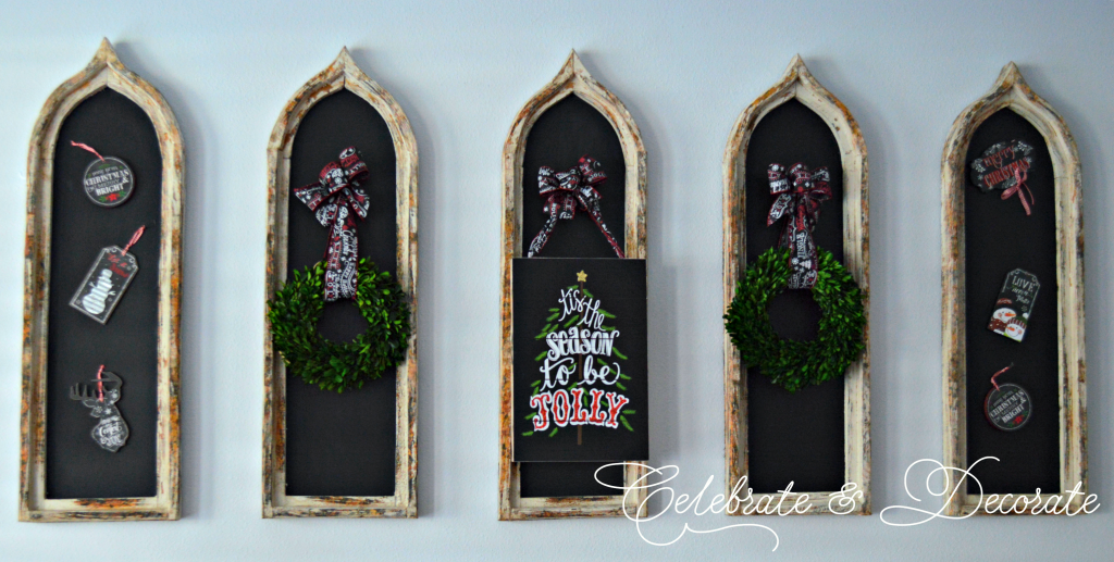 Chalkboards decorated for Christmas.