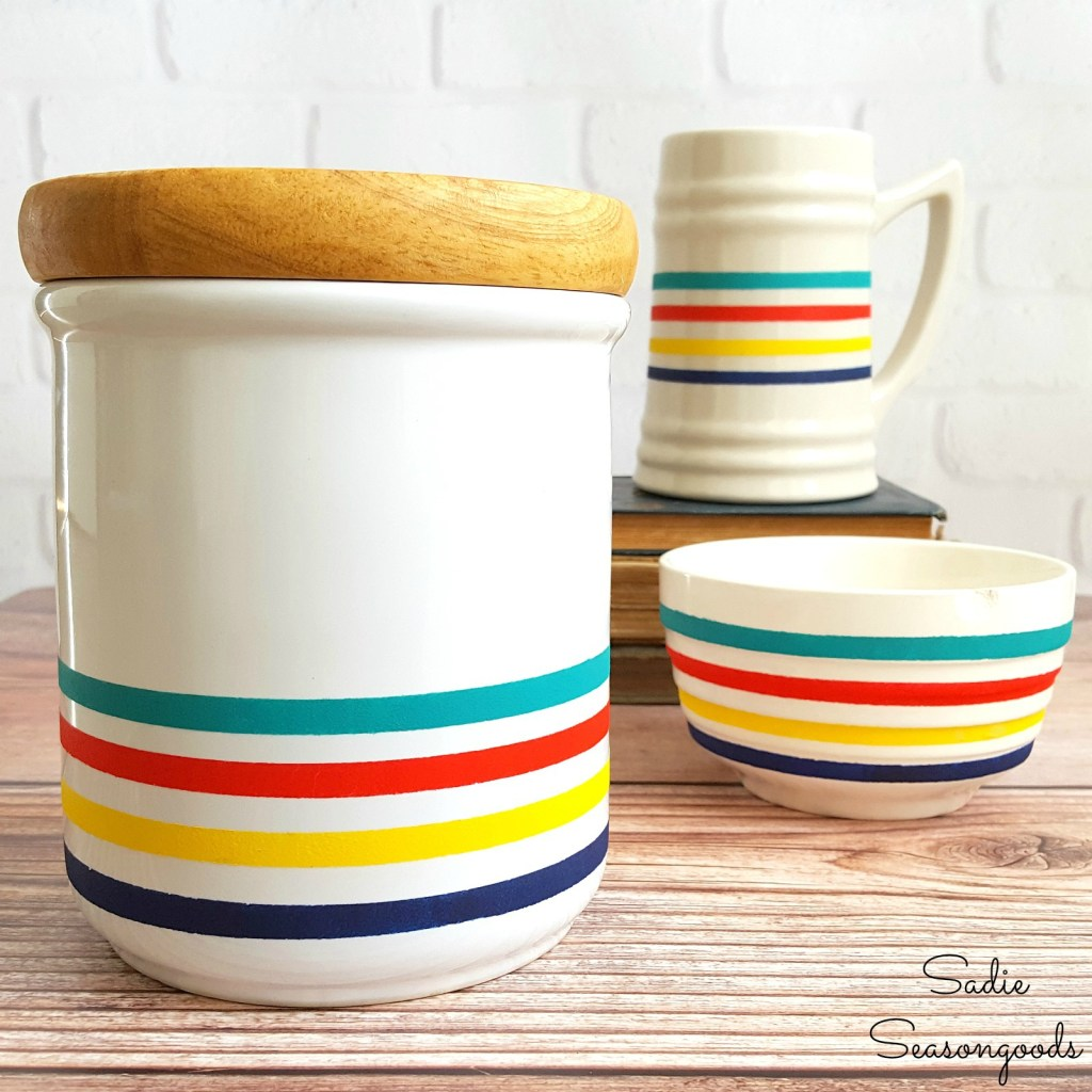 8_Hudson_Bay_point_blanket_inspired_winter_decor_using_repurposing_white_ceramic_stein_bowl_and_canister_from_thrift_store_Sadie_Seasongoods